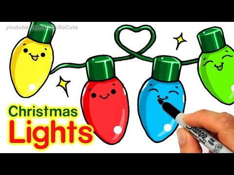 Nice How To Draw Christmas Holiday Lights Step By Step Easy And Cute Easy Christmas Drawings Christmas Drawing Draw So Cute Christmas