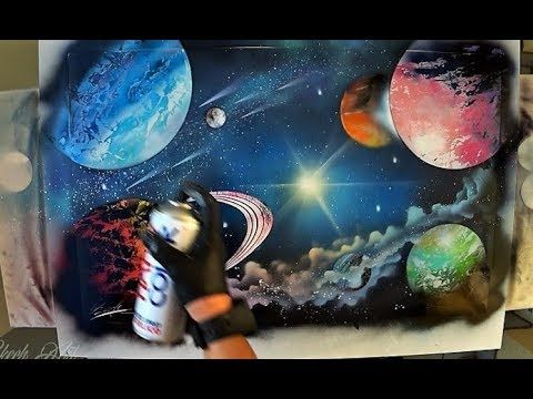 Colorful galaxy and mountains spray paint art tutorial - YouTube ...