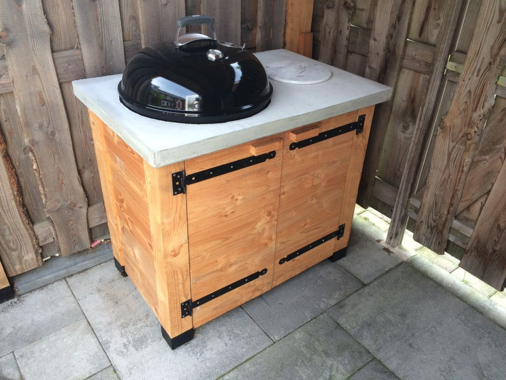 Custom Made Weber Grill Cabinet With Concrete Table Top Bbq