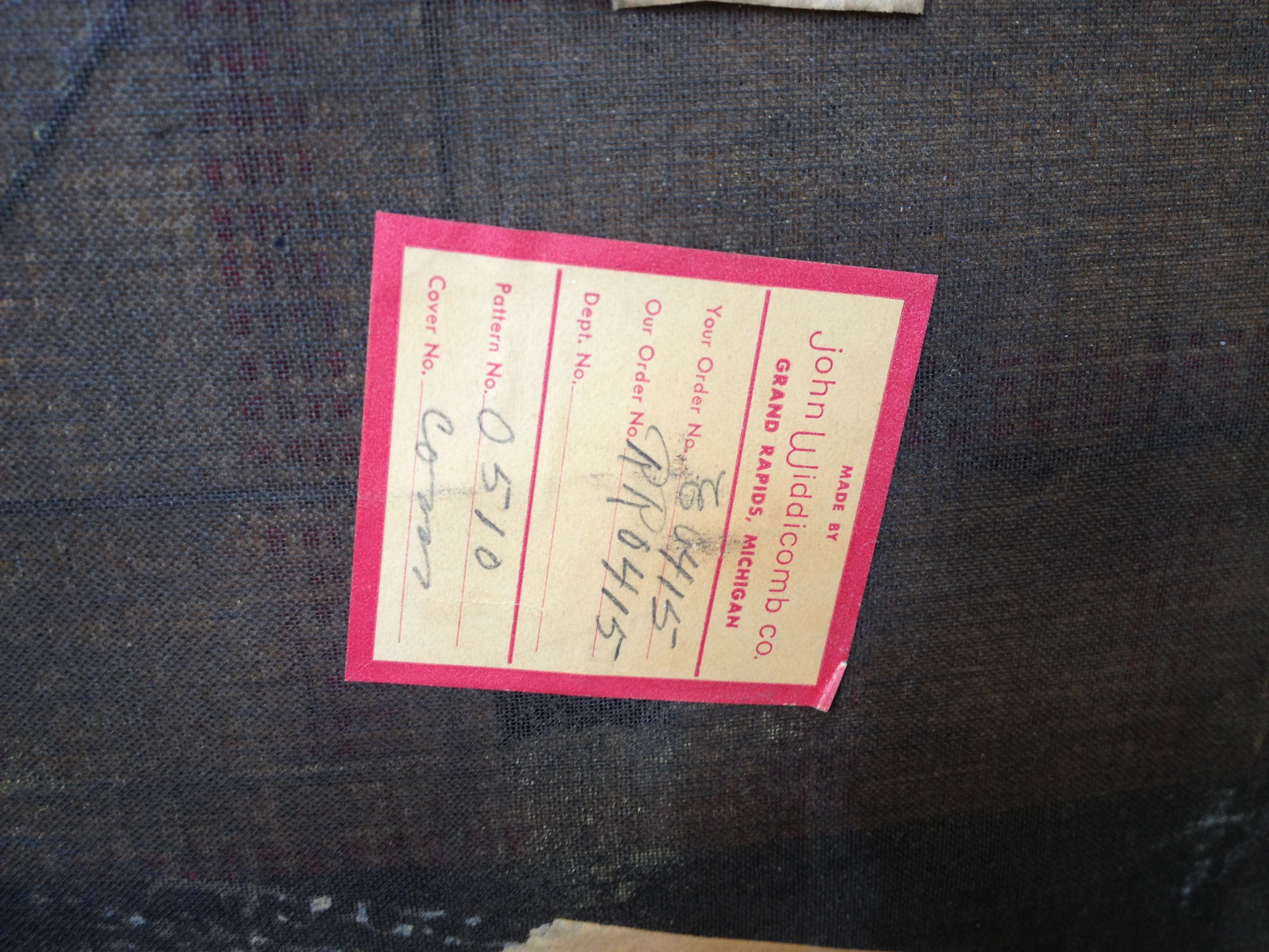 Widdicomb Furniture Makers Tag