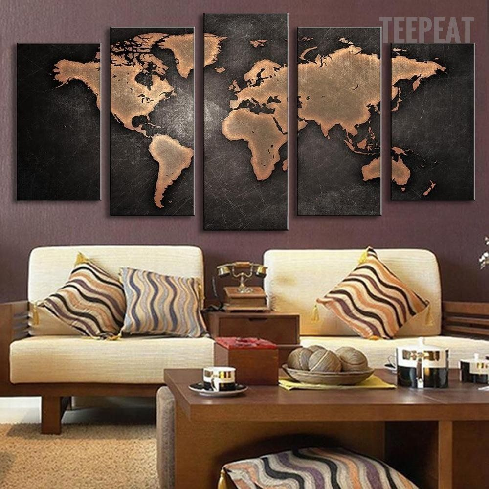 world map painting - 5 piece canvas   print, canvas prints and