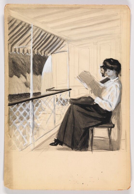 Study Of A Man And A Woman Reading On A Porch Edward Hopper