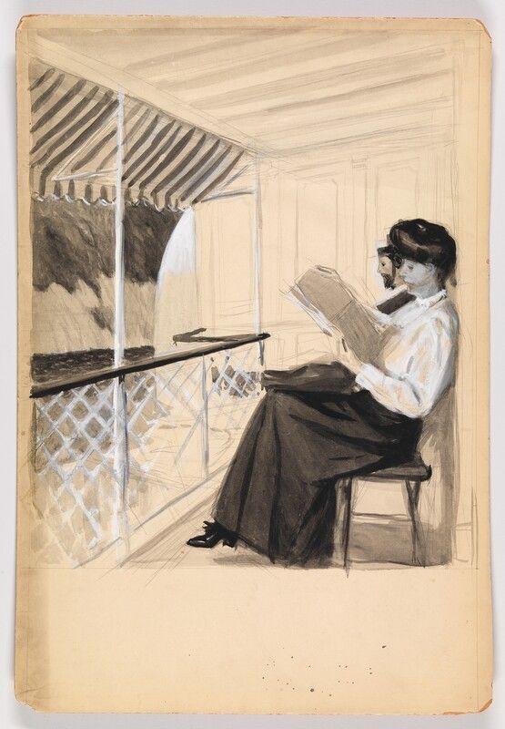 Study of a Man and a Woman Reading on a Porch, Edward Hopper, circa 1900
