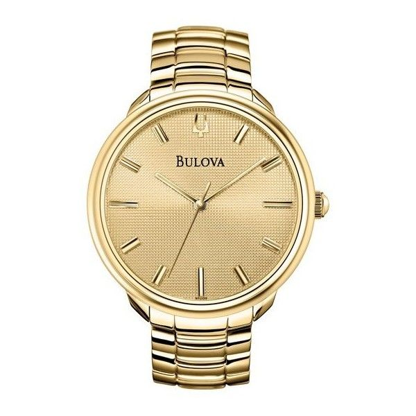 Bulova Champagne Dial Gold-tone Watch 97L125 ($97) ❤ liked on Polyvore featuring jewelry, watches, accessories, bracelet jewelry, bulova bracelet, analog watches, analog wrist watch and stainless steel wrist watch