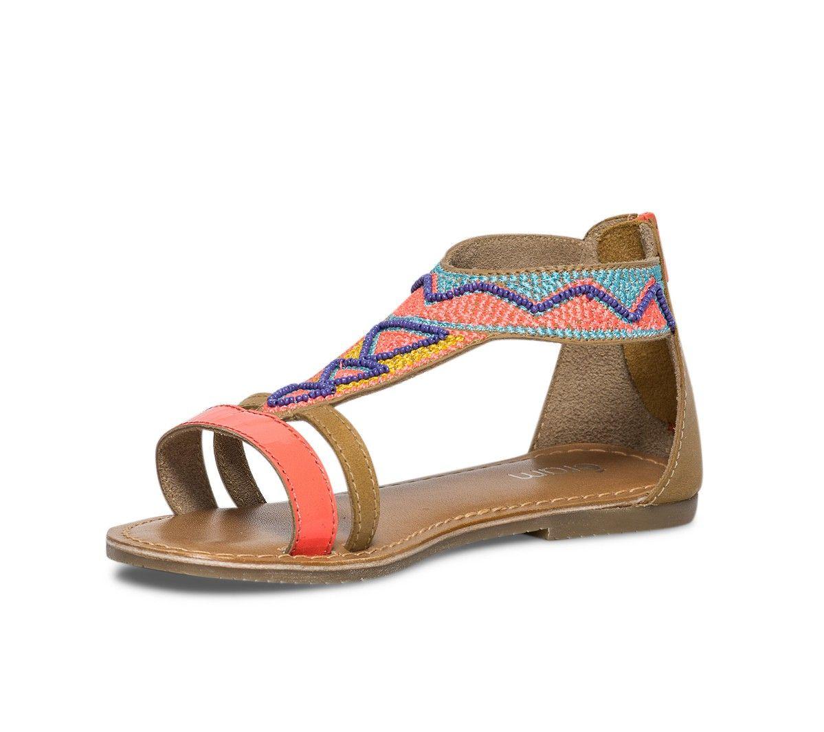 tout neuf 65429 84cc6 Sandale cuir brodée multicolore - Chaussures fille ...
