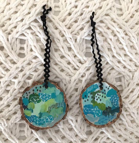 Set of 2 Turquoise Ornaments by agirlandherbrush on Etsy