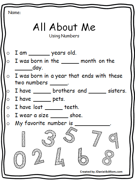 All About Me Worksheets - Numbers | JDaniel4's Mom (From My ...