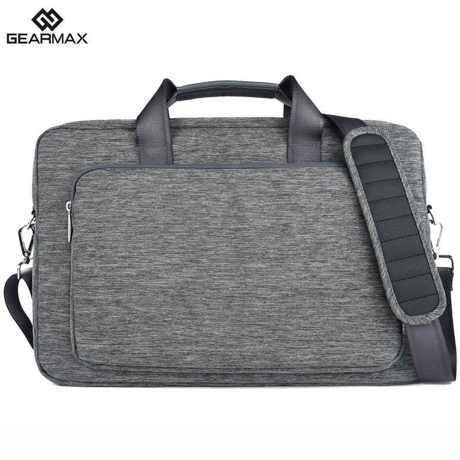 Gearmax Brand Laptop Case 15 17 Waterproof Canvas Briefcase Men Business Computer Bag For Macbook Pro 13 14
