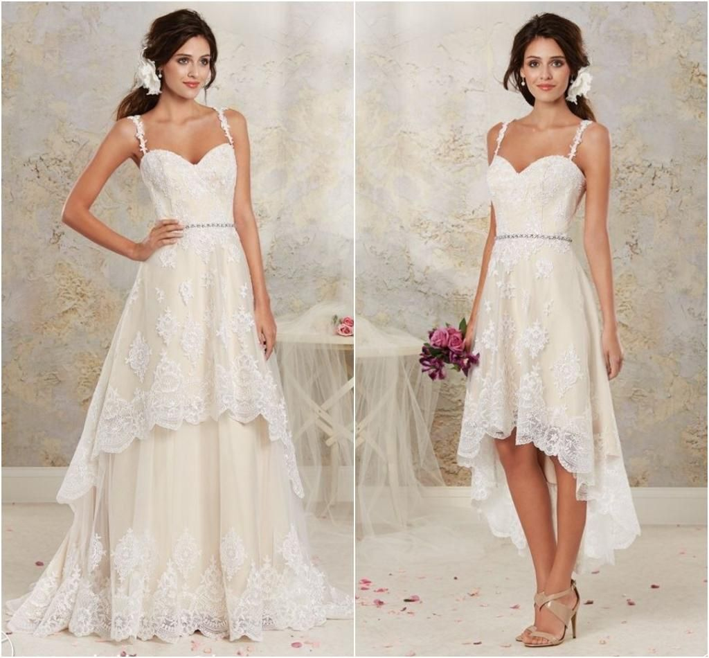 Detachable Two Pieces Wedding Dresses High Low Sweetheart Spaghetti ...