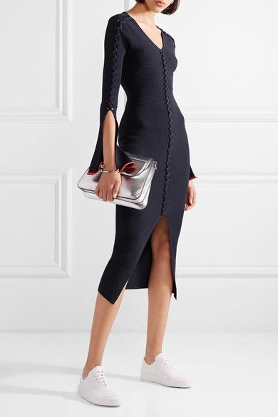 Criss Cross Ribbed-knit Midi Dress - Midnight blue Opening Ceremony Looking For Online Reliable Cheap Online Pictures 9Q7279HbM