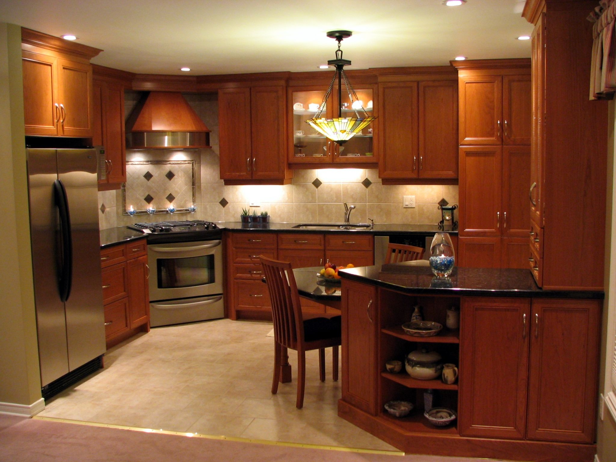 Recessed panel cherry cabinets nutmeg stain finish for Finished kitchen cabinets