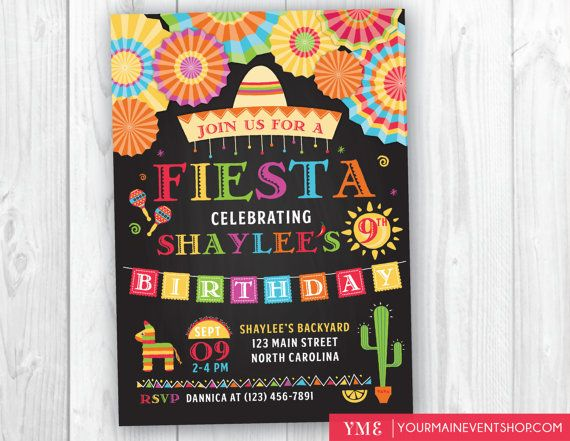 Fiesta Birthday Invitation Mexican Party Invite Cinco