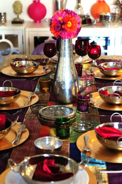 Beautiful Indian Inspired Table Dinner Party Decorations