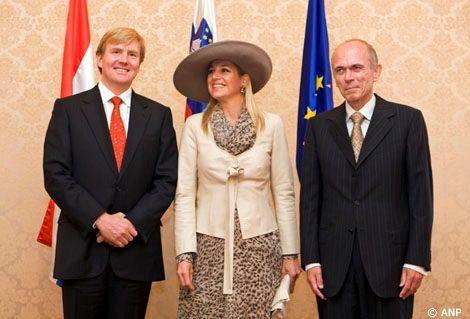 Ljubljana, 2 oktober 2007: de Prins van Oranje, Prinses Máxima en President Janez Drnovsek