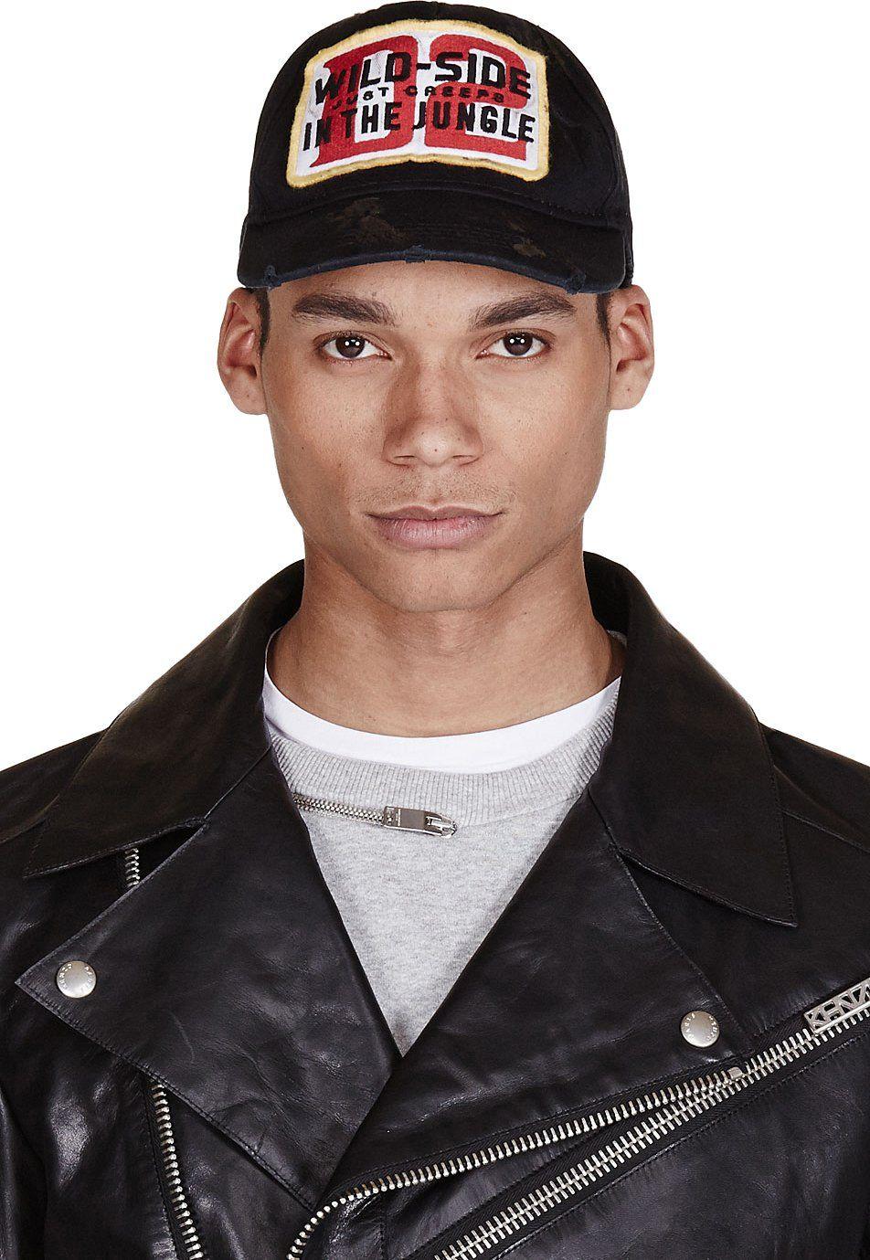43ef0c725923 Dsquared2 - Black Distressed Wild Side Cap Casquette, Toque, Produits Pour  Hommes, Cap