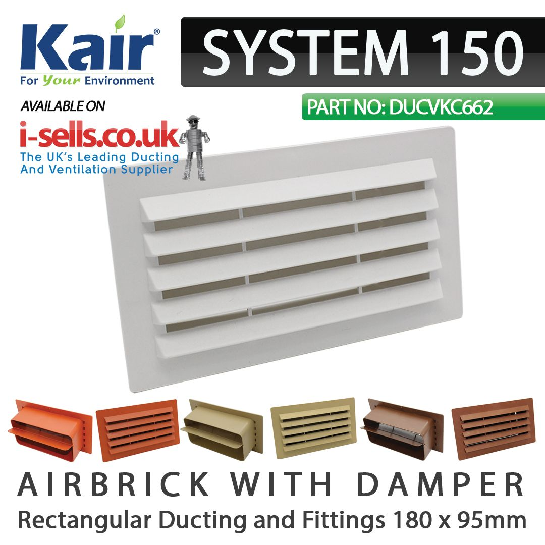 SYSTEM 150 RECTANGULAR AIRBRICK WITH DAMPER Fits inside