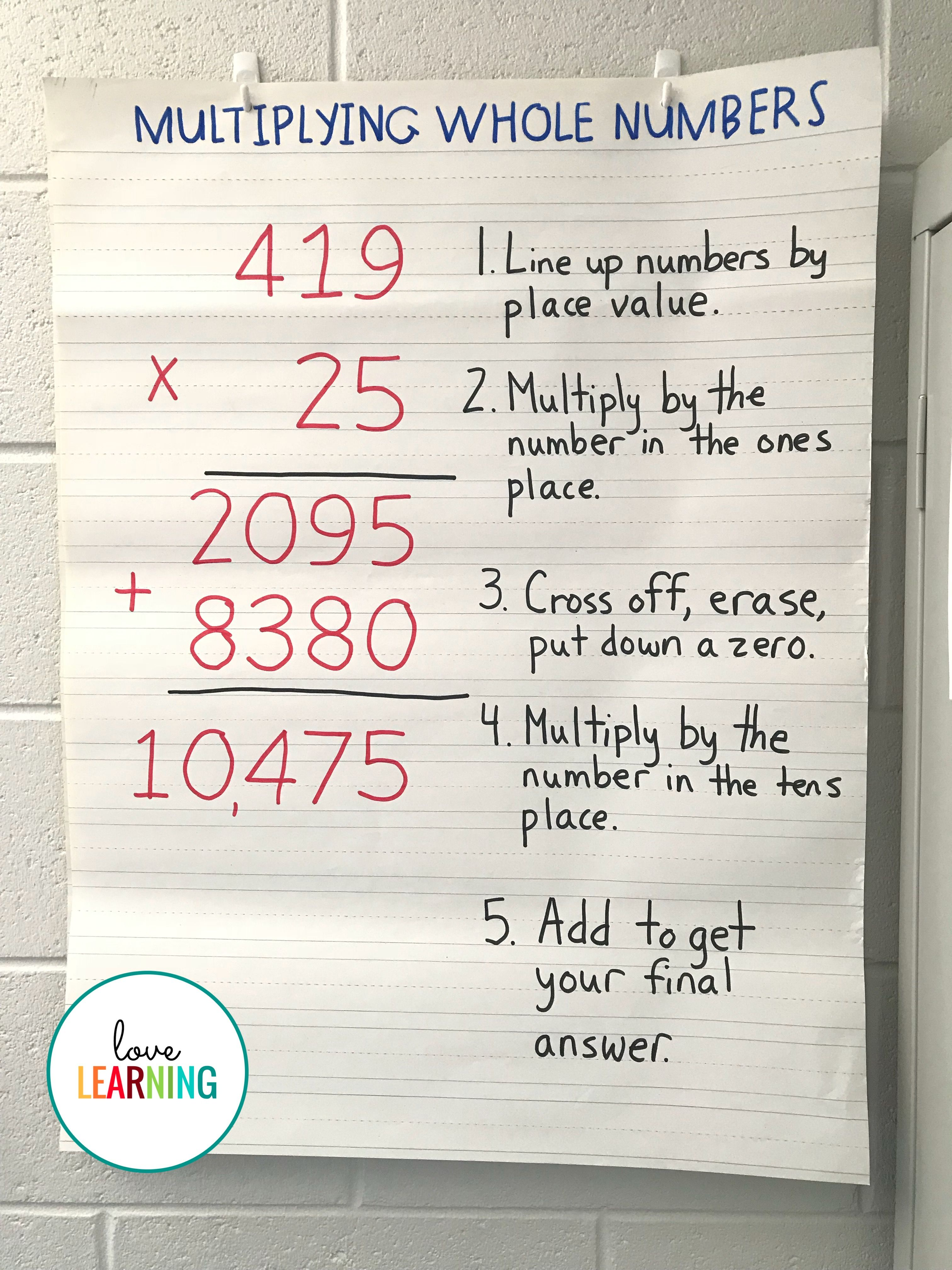 Multiplying Multi Digit Whole Numbers Unit With