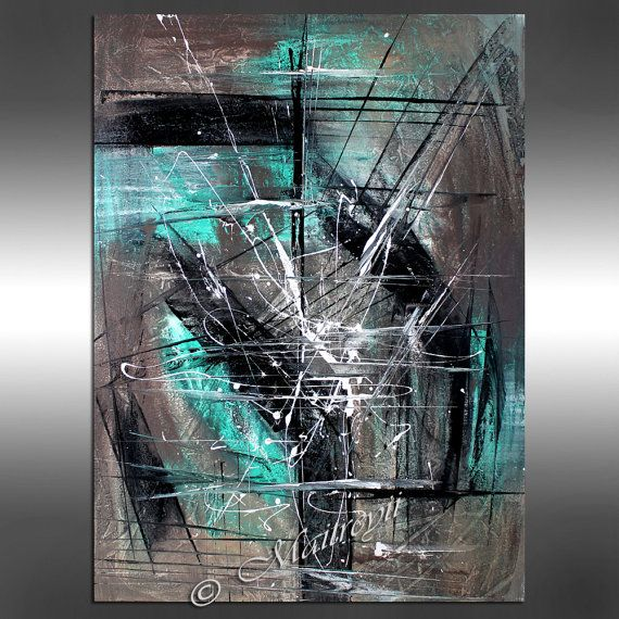 Turquoise painting 40 abstract art modern wall by for Peinture gris turquoise