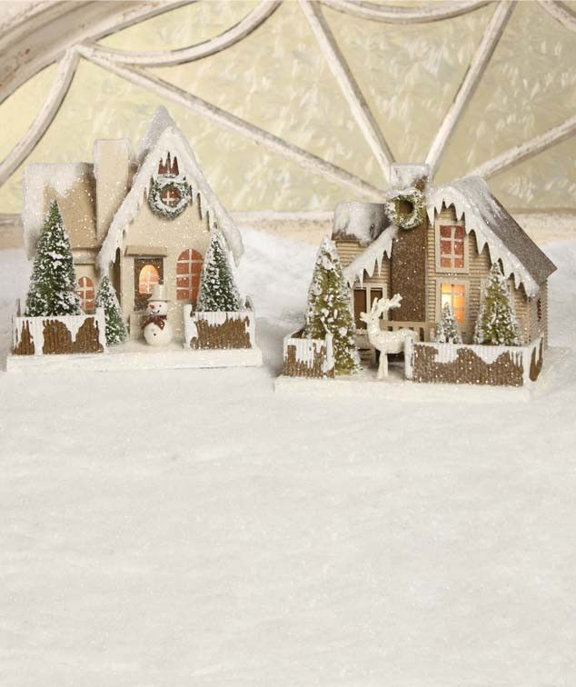 Large Cottage In The Woods | Christmas Glitter Putz Paper Houses - The Holiday Barn