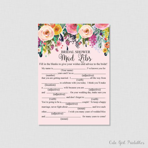 Floral Bridal Shower Mad Libs Game - Printable Mad Libs Bridal Shower Game - Pink Floral D�cor - Fun Bridal Shower - Games 0001P