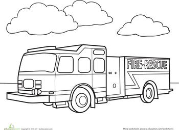 Fire Truck Worksheet Education Com Truck Coloring Pages Fire Trucks Coloring Pages