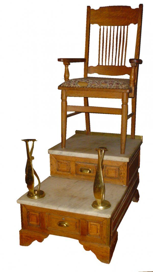 Vintage Shoe Shine Stand For Sale - 485: OAK ANTIQUE MARBLE TOP SHOE SHINE STAND 3153 NETFLIX