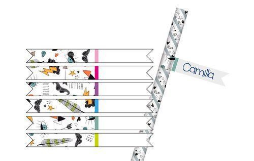 bandierine segnacannucce, straws flags conf. 12 pz Hipster party, glamour party, moda hipster, festa hipster star, diamonds, baffi, mustache grigio, azzurro, arancio, nero, gray, light blue, orange, black