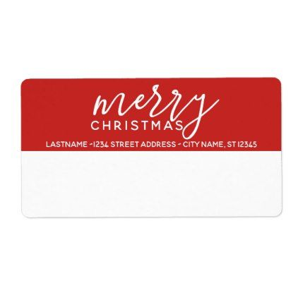Modern Merry Christmas Shipping Return Address Label - return