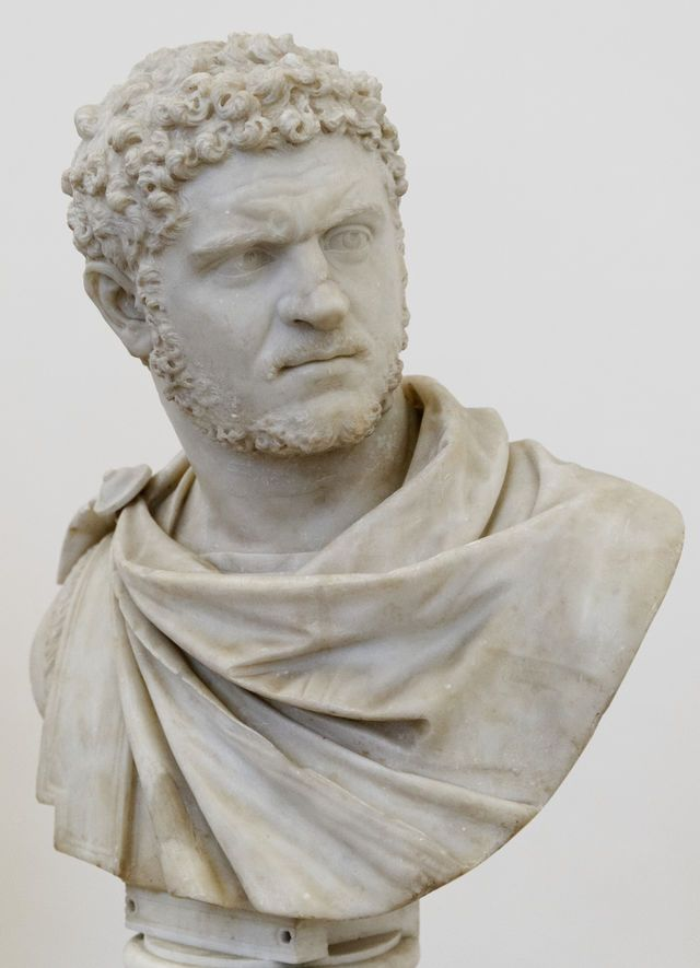 Emperor Caracalla. Emperor from 198 to 217, he was known for murdering his brother and co-emperor Geta, having his bride and wedding guests massacred after his wedding, and generally cruel reign. While out on campaign, he needed to stop and urinate along the side of the road. Julius Martialis, an officer of his personal bodyguard, who had been upset that Caracalla had his brother executed a few days earlier, took the chance to gain revenge, and killed the emperor with a single sword stroke.