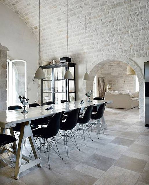 74 Fantastic Kitchens With Brick Walls And Ceilings: 74 Fantastic Kitchens  With Brick Walls And Ceilings With White Wooden Dining Table And Black  Chairs And ...