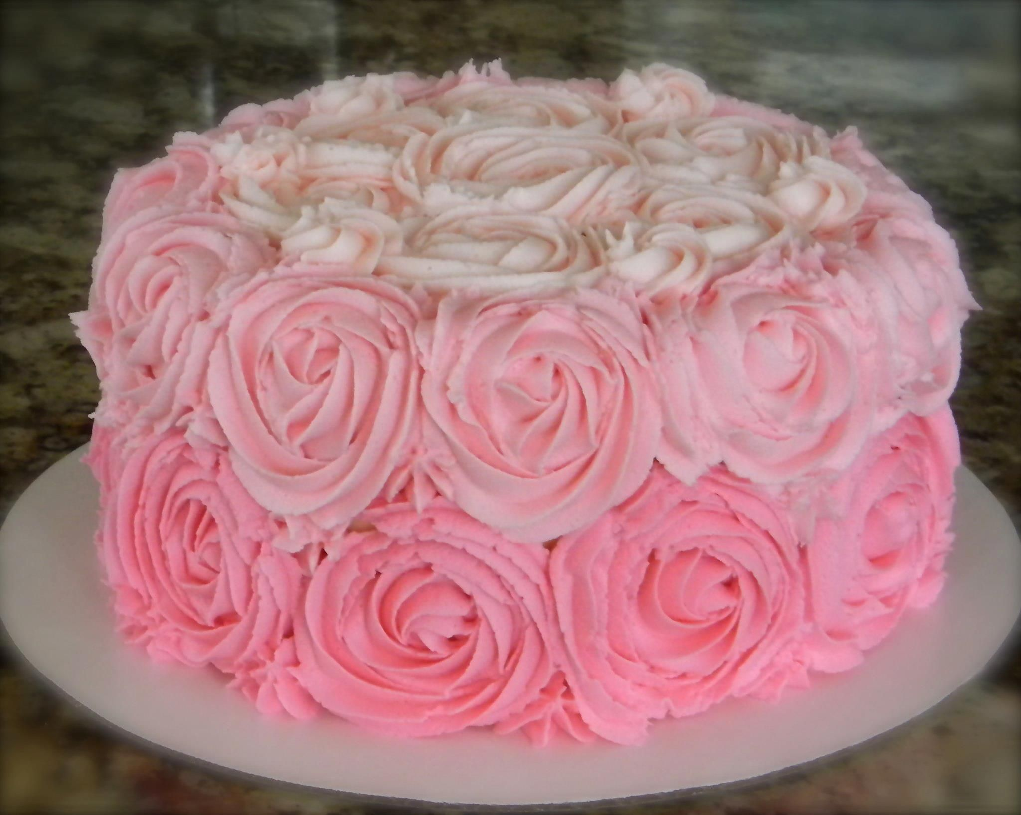 Pink Ombre Rose Swirl Cake