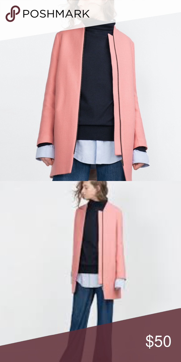 796ef561 Zara pink wool coat Used once, super cute pink wool Zara coat Zara Jackets  & Coats