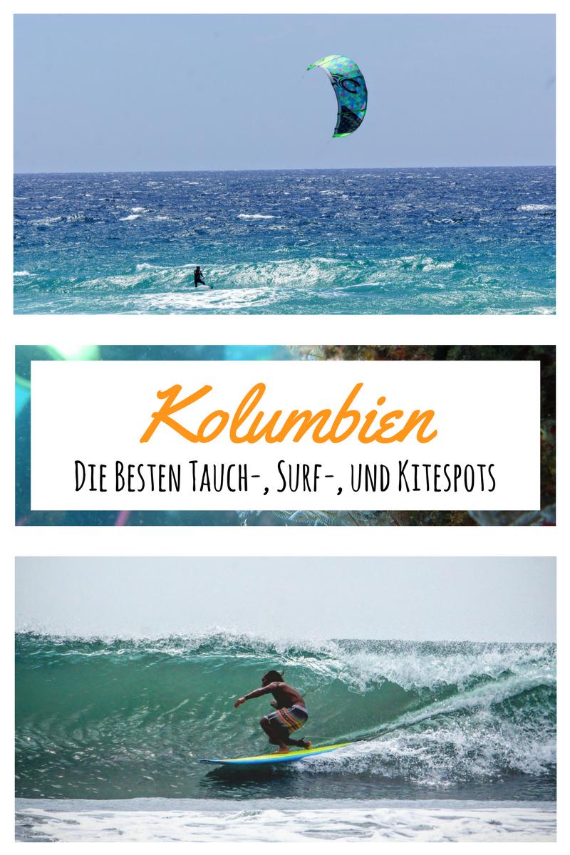 Hier zeige ich euch die besten Surf-, Tauch-, und Kitespots in Kolumbien. Damit du bei deiner Kolumbienreise nicht langes nach den besten Wellen, Winden und Tauchgängen suchen musst. Ob Karibik oder im Pazifik, in Kolumbien findet man einige traumhafte Ecken für Wassersportbegeisterte. #colombia #travel #surfing #diving #kitesurfing