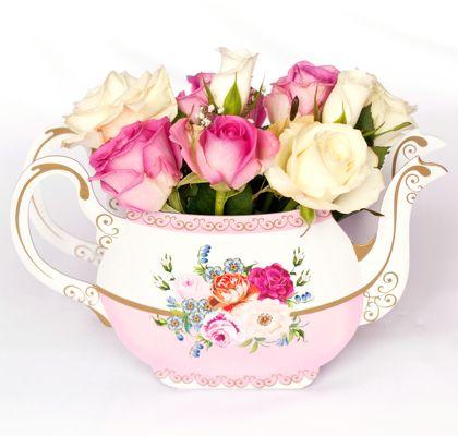 Chic Teapot Vasea Gorgeous Summer Table Centrepiece Pink