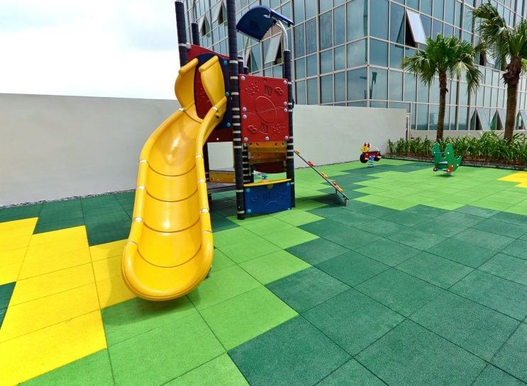 Colored 20mm Rubber Floor Tiles For Playground Piso