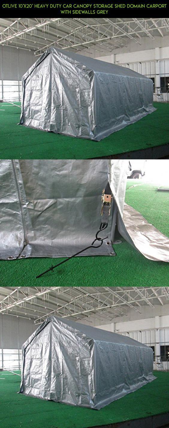 OTLIVE 10u0027x20u0027 Heavy Duty Car Canopy Storage Shed Domain Carport with Sidewalls Grey & OTLIVE 10u0027x20u0027 Heavy Duty Car Canopy Storage Shed Domain Carport ...