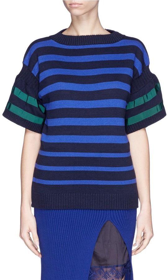 SACAI LUCK Puff sleeve stripe sweater