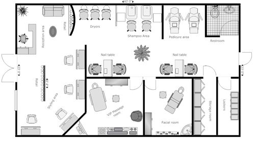 Beauty Salon Floor Plan Design Layout - 1700 Square Foot салон - new blueprint hair design