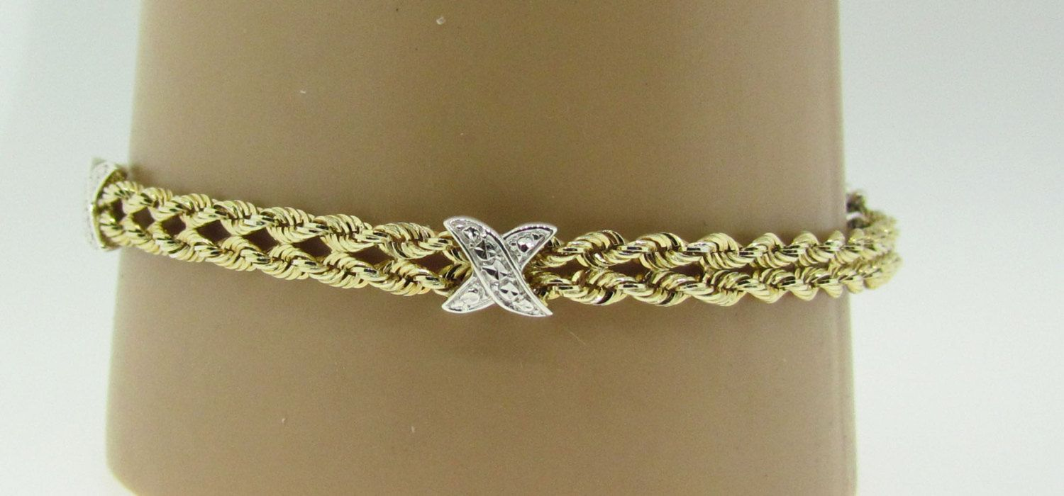 Sterling silver and k gold x double rope bracelet