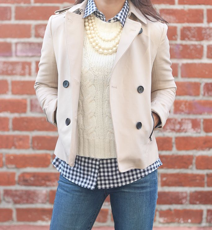 Ann Taylor cable knit sweater, Ann Taylor cropped trench jacket. Petite denim jeans, banana republic petite gingham shirt, Preppy layers