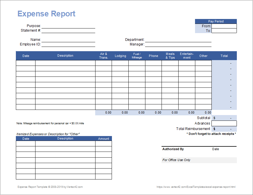 Download A Free Expense Report Template From Vertex42 Com For Recording And Reporting Travel Expense Spreadsheet Template Sales Report Template Report Template