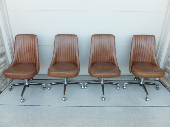 Vintage Mid Century Modern Chromcraft Dining Chairs Set Of 4 On Casters  Retro