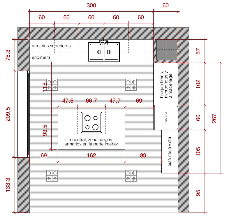 Plano de planta de distribución acotado del proyecto de una cocina ...