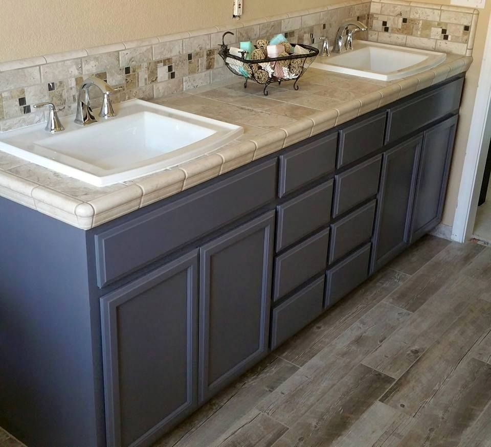 master bath cabinets done in general finishes driftwood milk paint and gf high performance flat sealer