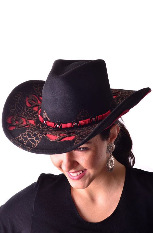This black and red Western Women hat is full of detail with cutout in the  shape a03dec6d899