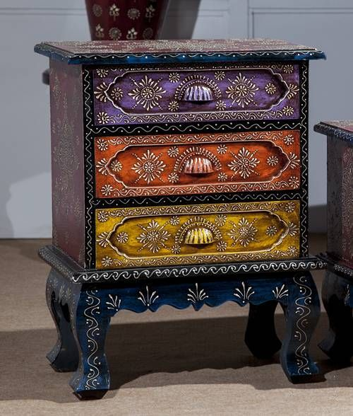 Bohemian furniture online Bedroom Furniture Three Drawer Colourful Chest An Online Furniture Store For Bedroom Living Room Dining Room Indian Wooden Furniture Jodhpur Furniture Wooden Pinterest Новости Винтажная мебель Pinterest Paint Furniture Furniture