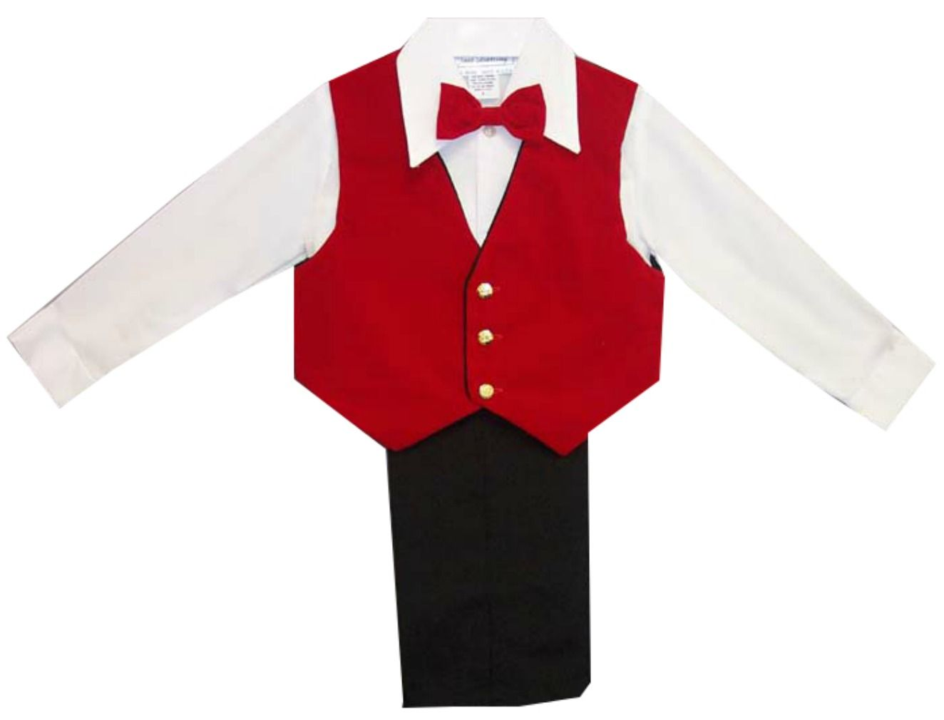 Boys Suits : Boys 4Pc Dressy Black Slack Set Velvet Red Vest  Boys Christmas Pant Suit