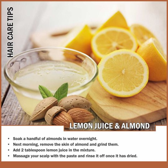 Almonds in general are very rich in vitamin E, which is great for your #hair. Lemon juice helps to balance the pH level of the scalp and promotes #hair_growth.