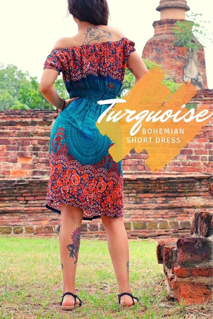 Turquoise geometric mandala bohemian short dress 1