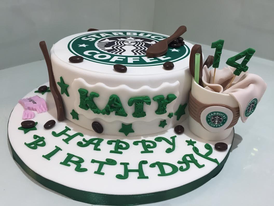 Starbucks themed  chocolate birthday cake.